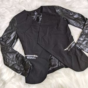 H&M Black Leather Accent Sleeves Jacket Open Front